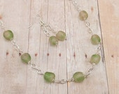 African Glass Bead Necklace and Earring Set - Powder Glass - Light Green - Sage - Ethnic
