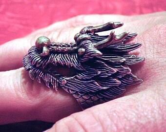 Vintage Mens Ring Large STERLING Vintage Men's DRAGON RING Hinged Movable Jaw sz 13 - on sale