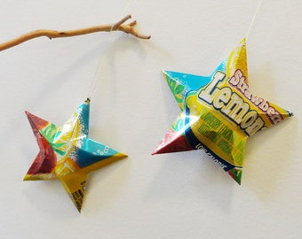 Strawberry Lemonade Stars Christmas Ornaments Soda Can Upcycled