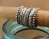 Oxidized Sterling Silver Stack Rings--Set of 8--Floral, Rope, Braid, Hammered, Plain, and Beaded--Sweet & Simple