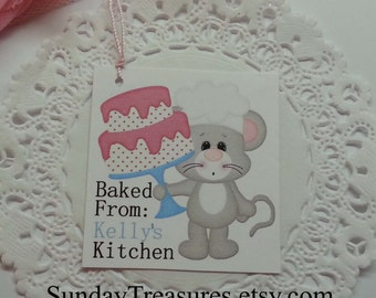 6 Mouse Chef with Pink Cake /  Party Favor Bakery Cookie Bag TAGS Stickers Seals Label / Cupcake Toppers  (ref-ts)