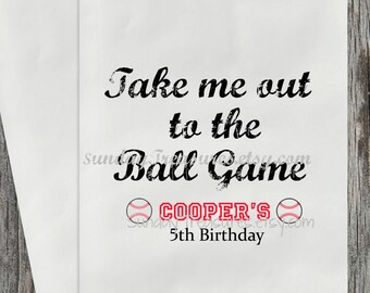 12 Sports Baseball T-Ball Theme BIRTHDAY Candy Buffet Party Favor Bags / Popcorn Gift Bag / Any AGE / Personalized / Thank You / 3 Day Ship