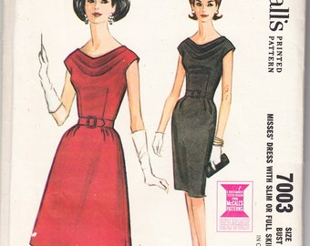 Vintage 1963 McCall's 7003 Sewing Pattern Misses' Cowl Neckline Dress with Slim or Full Skirt Size 12 Bust 32