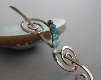 Swirl scarf pin or shawl pin with ombre blue shades multicolored stones - Scroll pin - Ombre pin - Simple pin - SP021