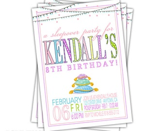 Slumber Party Invitation • Sleepover Birthday Party Invite • Sleep Over Party • Birthday Sleepover • Kendall design