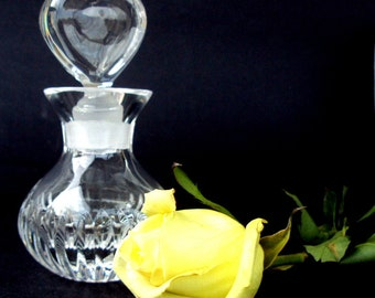 Vintage Cut Crystal,Clear Glass, Perfume Bottle, Glass Heart Stopper,Lead Glass,Vanity,Valentines Day,Saks, Italy