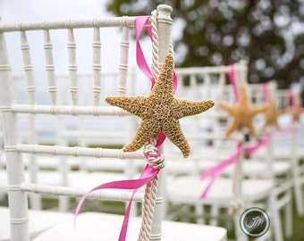 10 Beach Wedding Starfish Chair Decorations with 23 Ribbon Choices and White or Brown Starfish - Save on a set of 10 pew decoration, coastal