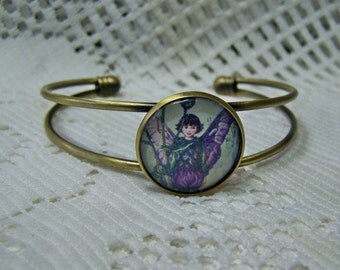 Garden Fairy Bracelet - Woodland - Fantasy Fairy cameo - Elven - Purple and Green - Antique Bronze Cuff Bracelet - Fae - Faerie - Sprite