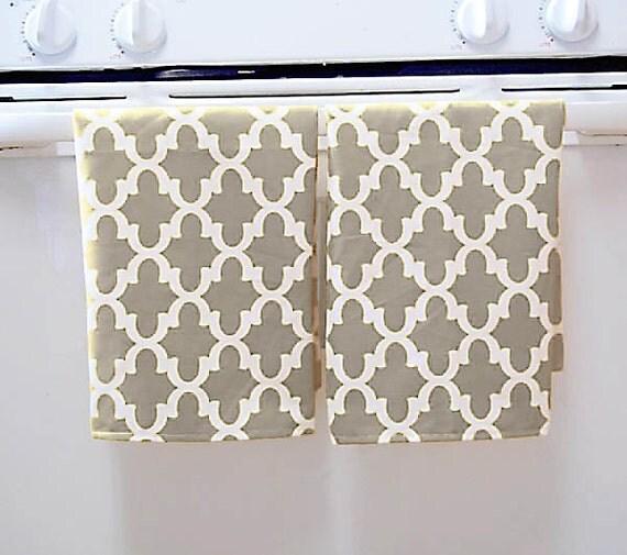 Grey Dish Rags: Grey Quatrefoil Pattern Dish Towel Set 2 Tea By