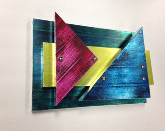 Abstract Faux Metal Wall art TRIANGLES painted custom original comtemporary Ready To Hang Mancave
