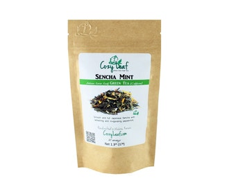 Sencha Mint Organic Artisan Loose Leaf Tea by Cozy Leaf