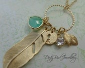 Long 14K Gold Fill or Sterling Silver Feather Trinket Necklace SALE 20% OFF