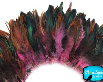 Rooster Feathers, 4 Inch Strip - LIGHT PINK Half Bronze Strung Rooster Schlappen Feathers : 3854