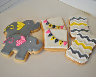 Elephant baby shower cookies with chevron and banners