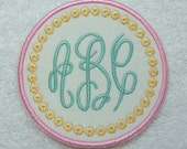 Round Triple Infinity Monogram Embroidered Iron On Applique Patch MADE TO ORDER