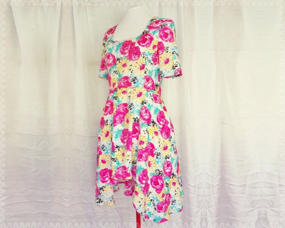 Blossoming Floral High Low Dress - Floral Day Dress, Floral Print Dress, Floral Summer Dress, OOAK Dress in Size Small/Medium