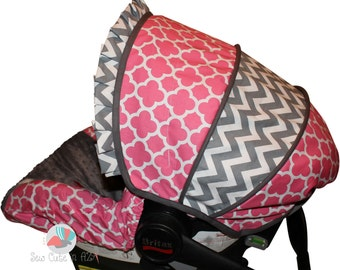 Infant Car Seat Cover Pink Quatrefoil with Grey