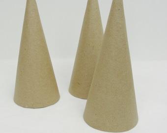 "3 Paper mache cones, 7""x3"" cone, contemporary Christmas tree"