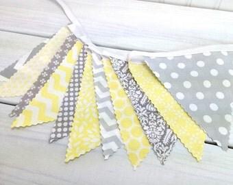 Bunting Fabric Banner, Fabric Flags, Nursery Decor, Birthday Decoration, Baby Shower - Yellow, Grey, Gray, Chevron, Flowers, Dots