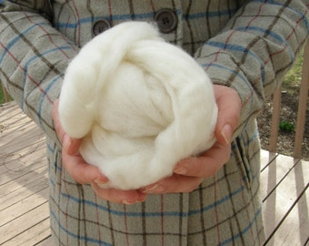 Mill Ends Wool Roving - Natural White Wool Roving - Sold by the Ounce
