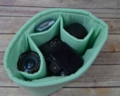 Camera insert - Mint green, Turn your purse or backpack into a Camera Bag for DSLR ! Foam padded insert  Water resistant, in stock