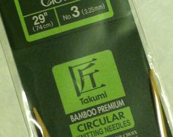 Clover Takumi Bamboo Premium Circular Knitting Needles Size 3 US (3.25mm) - 29-inch (74cm)