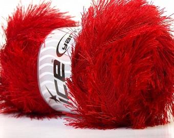 LG 100 gram Red Eyelash Yarn Ice Fun Fur 164 Yards 22716