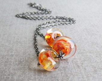 Tangerine Necklace, Orange Necklace, Lampwork Necklace, Orange Beaded Necklace, Sterling Necklace
