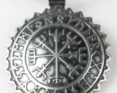 Viking Vegvisir Nautical Nordic Compass Pendant with Rune Calendar - Nordic Sterling Silver Compass KeyRing - Pagan Compass - Celtic Compass