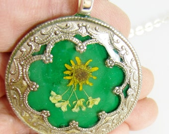 Mini Sunflower on Green , Pressed Flower Pendant, Real Flowers, Silver Plated Brass, Resin, Polymer Clay (1429)
