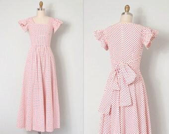 vintage 1970s dress / 70s polka dot maxi dress /  Summer Splendor