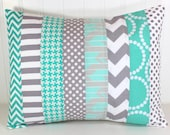 Decorative Pillow Cover, Throw Cushion Cover, Nursery Pillow, Lumbar Pillow Cover, 12 x 16 Inches, Teal Blue, Gray Chevron