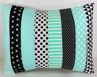 Pillow Cover, Nursery Pillow Cover, Patchwork Pillow, Gender Neutral Nursery Decor, 12 x 16 Inches, Mint Green, Black, Triangles