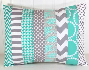 Decorative Pillow Cover, Throw Cushion Cover, Nursery Pillow, Lumbar Pillow Cover, 12 x 16 Inches, Teal Blue, Gray Chevron
