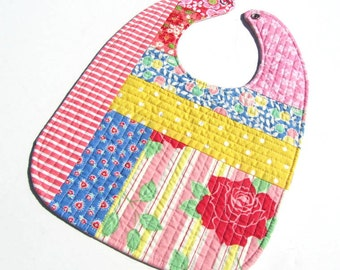 Quilted Baby Girl Bib-  Hearts/ Floral/ Reversible