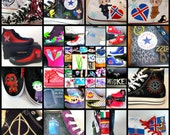 Handpainted sneakers with your favorites!  Doctor Who,Sherlock,Supernatural, Harry Potter, MLP, RWBY,Book or movie inspired