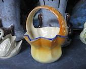 Czecho Slovakia Pottery Basket in Orange with Blue Trim