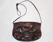 Vintage   Leather  and Reptile Skin  Shoulder Bag   Purse Pocketbook Chocolate Brown