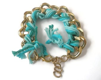 Bracelet Chunky Gold Chain and Turquoise Wool plated mixed media Jewellery