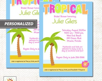 Tropical Palm Tree Beach Theme Bridal Shower Invitations Digital Summer Outdoors