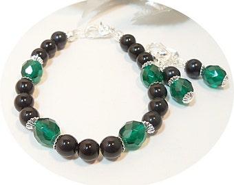 Green, Bracelet and Earrings,Black, Jewelry Set, Earrings and Bracelet, Bridesmaid Jewelry, Deep Green, Emerald Green, Christmas Jewelry