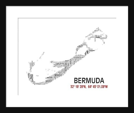 Bermuda Map Typography Latitude Longitude Map Poster
