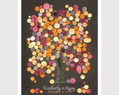 Wall art decor Guest Book Print - Wedding guest book art print Baby girl keepsake - Trees of Life Collection MONGOLIAN OAK TREE