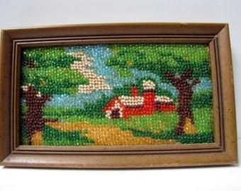 Vintage Seed Bead MOSIAC - Red Barn, Vintage Art, Vintage Crafts, framed mosiac