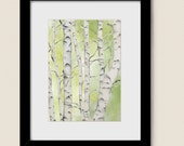 Green Tree Wall Decor Living Room Art Print 5 x 7, Birch Tree Nature Wall Art Print, Decor for House or Office (192)