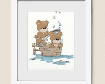 8 x 10 Childs Bathroom Art, Teddy Bears Taking a Bath Wall Art, Kids Bathroom Decor, Bubble Art for Childrens Bath (384)