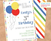 Confetti & Balloons Birthday Invitation - DIY Printable Digital File - Birthday Party Rainbow Brite Air Mail Stripe 5x7 4x6 Custom Invite