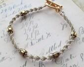 Cream and Gold Macrame Bracelet // Art Deco Beach Boho Chic
