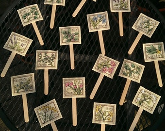 Hand stitched Herb Garden Labels