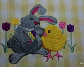 Easter Bunny and Chick on Yellow & White Cotton Kitchen Tea Towel